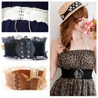 Wholesale Fashion Accessories Sweet Girl lace Girdle Elastic PU Leather Knitted Handmade Lace Waist Belt black white Khaki Belt