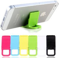 plastic card holder - Simple dazzle colour card phone Holders folding three Angle is adjustable portable plastic Lazy people mobile phone stands