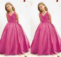 Wholesale Cheap Little Girls Bridesmaid Dresses - 2015 Cheap Flower Girls' Dresses Ball Gown Fuchsia Organza Sweep Train V-Neck Junior Bridesmaid Dress Kids Little Girls Formal Dress Gowns
