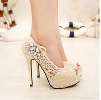 Wedding white lace wedding shoes - 2015 New Arrival Lace Crystal Peep toe Summer High Heel Bridal Shoes White Lace Wedding Shoes
