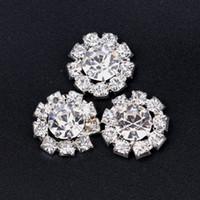 hair sparkle - 15MM Elegant Artificial Sparkle Round Flower Metal Rhinestone Button For Baby Girl Hair Embellishment