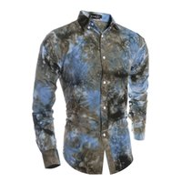 beautiful chemise - New Fashion Special Tie Dye Craft Broken Beautiful Chemise Homme Men S Casual Long Sleeved Shirt Hot A02