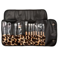 bag ch - Professional Makeup Brush Set Eyeshadow Eyebrow Cosmetics Brushes Kit with Leopard Bag Maquiagem Tool E CH