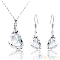 Wholesale Fashion Women s Crystal Pea Shaped White Gold Plated Necklace Earrings Jewelry Set KCL