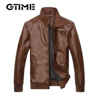 pelle pelle - GTIME New Fashion brand Autumn winter men leather jacket giacca pelle uomo slim fit leisure biker jacket Size M XL TM88