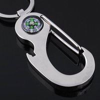 Wholesale NEW OutDoor Promotions Keychain key ring chain bottle opener compass for Best Boy Girl Gift
