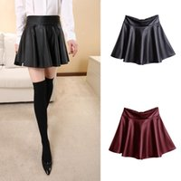 high waisted shorts - Women Fashion Mini Short PU Leather Skirt High Waisted Pleated Flared Solid Skirts For Ladies G0433