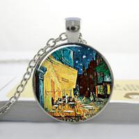 art bistro - Van Gogh Cafe Terrace art pendant Van Gogh jewelry bistro jewelry street restaurant pendant O64
