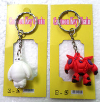 Wholesale 100 style Big Hero PVC key chain Baymax cartoon Soft Rubber Keychain Anime Baymax Metal Key Chains Pendant Kids Christmas