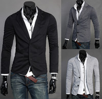 Wholesale Man Leisure Blazers Men Male New Arrival Slim Fit Casual Suit Grey Black Blazer Dress Clothing M XL