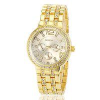 Fashion rose - Geneva luxury brand watches fashion man women wedding gift rose gold diamonds three eyed steel band quartz watch lady