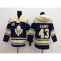 Wholesale Nevy Blue Hockey Hoodies Maple Leafs Nazem Kadri Lace Up Winter Outdoor Sportswear Warm Hooded Sweatshirts Cheap Hockey Sports Jackets