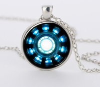 arc reactor - Iron Man Arc Reactor Pendant glass Necklace Art picture Gothic glass cabochon silver choker Necklace for women men Jewelry CN424