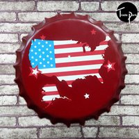 Wholesale 35 cm Round states maps of America Bottle cap Retro Tin Sign for the Pub Bar Garage