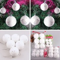 Wholesale Xmas Party Baubles Tree Decoration Snow White Globe Foam Balls Hanging Ornament