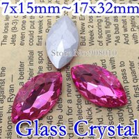 Wholesale Rose Color Navette Fancy Stone Horse Eye Glass Crystal For Jewelry Making x15mm x18mm x27mm x32mm
