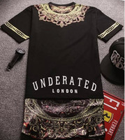 Wholesale 2014 New Fashion Mens T shirt Side Zipper Streetwear Hip hop Print Lengthen Tshirts Long Design dress Tee