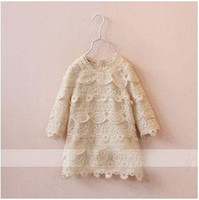 ladies' dress - 2015 Lady Style Fashion Hollowed out Flower Lace Girls Long Sleeve Princess Dress Childrens Clothing