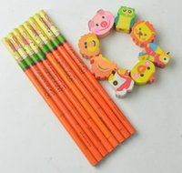 animal shaped erasers - school stationery kits Cute animal shape design pencil with eraser