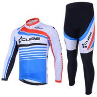 anti reflective - Cube Cycling Jersey Autumn Winter Fleece Thermal Cycling Clothing Long Sleeves Pants Bike Gear For Men Women