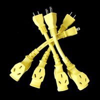 Wholesale 10pcs US standard AC prong power socket plug to port Outlet Receptacle cable cord Yellow A cm