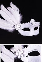 beauty free uppers - 2016 New Masquerade Mask performance show Runway Venice painting mask feather white beauty princess Christmas Halloween party DHL Free