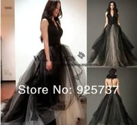 Wholesale Halter T Back vera Black Wedding Dress with Bustled Skirt plus size Lace Gothic Bridal Gown Real Sample photo