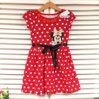 Cheap 2015 Summer Baby Girls Dresses Minnie Mouse Kids Sleeveless Polka Dot Bow Cartoon Princess Suits Clothing Children Costume 5PC Lot