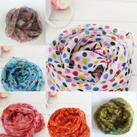 Wholesale Hot Toddlers Kids Girls Scarf Fashion Voile Dots Scarves Shawls Wrap Candy Neckerchief Freeshipping JIA288