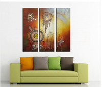 Cheap New abstract oil painting hand-painted, retro metallic decorative triple draw, home decor wall art oil painting