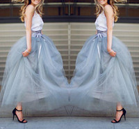 Wholesale Ankle Length Tulle Skirts Christmas Wear Floor Length Tutu Skirts With Ribbon Trim Bow Lace up Spring Formal Party Skirts Beach Wear