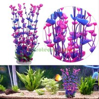 Wholesale Artificial Plastic Water Plant Grass Fish Tank Aquarium Decoration Purple Blue