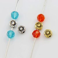 Flowers antique jewelry metal flower - 500pcs x6mm Antique Silver Gold Cute Flower Charm Beads Spacers Jewelry Findings L541 Hot sell