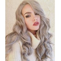 Wholesale Silver Grey Synthetic Lace Wig Glueless Lace Front Wig Natural Black And Grey Heat Resistant Hair Wigs
