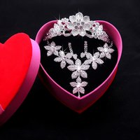 Wholesale 2014 Cheap Pieces Necklace Crowns And Earrings Rhinestone Wedding Bridal Crowns Bridal Jewelry Tiaras Hair Accessories NW