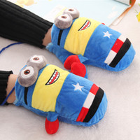 Wholesale 24pairs Fashionable Hanging Full Finger Gloves Cute Minions Style Fluffy Mittens Girls Winter Outdoor Accessories GL213