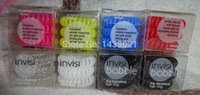 Cheap 20boxes lot The invisi bobble traceless hair rings Quality Plastic Phone-Cord detangling hair band 8-Colors 3pcs pack(box) EMS Free Shipping
