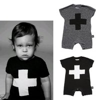 Wholesale 4pcs NUNUNU baby Romper kikikids summer style new born One Piece short sleeve kids Jumpsuit cross print infant clothes HX