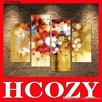 Cheap Hcozy Bouquets of Flowers 4 Panels Modern Canvas Wall Art for Home Decor, Floral Canvas Art, Paintings Style Oil Painting cd244