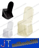 Wholesale Satin Chair Cover for Wedding Banquet Party Annual Supplies Dinner Decoration Black White Beige MYY14543