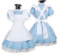 Wholesale Costumes Cosplay Theme Costume Alice in Wonderland fantasy blue light tone lolita maid outfit maid Halloween costumes fitted singer