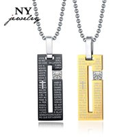 bible pattern - Fashion prayer bible pendant necklace for lovers quot G quot pattern stainless steel rhinestone necklaces couple jewelry