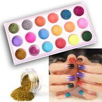 Wholesale 1 Set Colors Nail Art Glitter Powder Dust Decoration kit For Acrylic Tips UV Gel DIY M01200