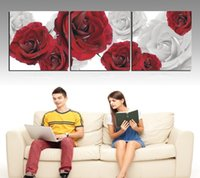 Cheap 3 Panels Picture Living Room Contemporary Painting blooming rose flower Decorative Canvas Paint Pure hand-painted Huge Combinati