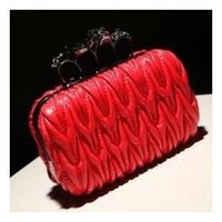 skull clutch - 2013 skull ring bag vintage day women s clutch handbag pleated bubble box chain bag