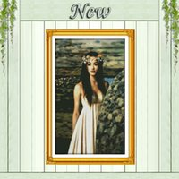 beauty fields - Green field girl beauty woman Counted Printing on the fabric DMC CT CT Cross Stitch kit Needlework Set embroidery Home Decor