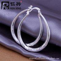 Wholesale sterling silver lovely silver Ellipse Skin Prismatic earrings jewelry SMTE294