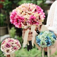 Cheap 4 Color Charming Wedding Flowers 2015 Wedding Bridal Bouquet Handmade Satin Rose Bride Holding Flower Favors Artificial Flowers Bouquets
