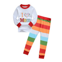 pajamas for children - Leisure Wear For Girls Long Sleeve Stripe Children Pajamas Letter I Love Mom Kids Suits Age K962