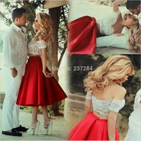 Wholesale 2016 Hot sale charming short Party Prom dresses Two Pieces popular A line satin cocktail gowns casual dresses off the shoulder sexy lace